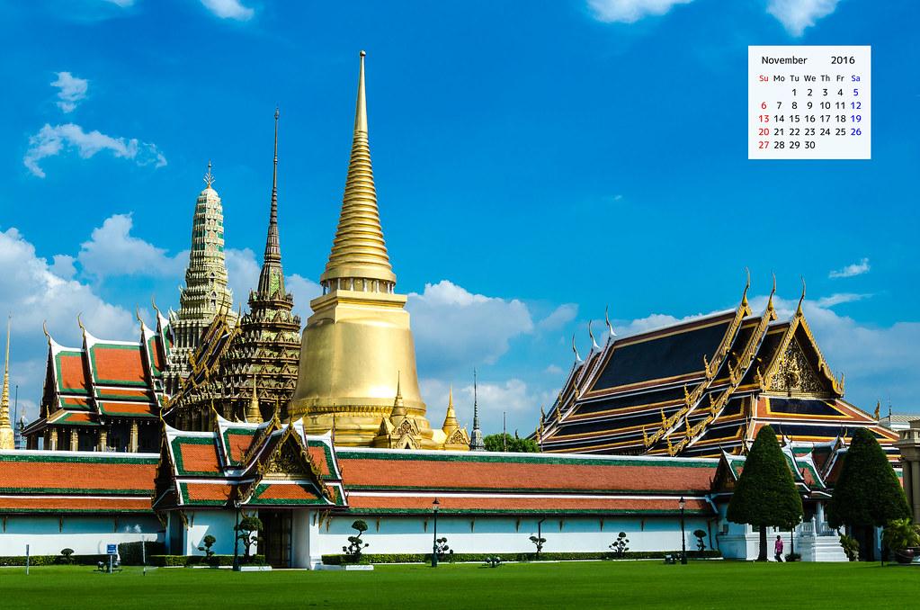 Grand Palace Bangkok on the November 2016 desktop Calendar
