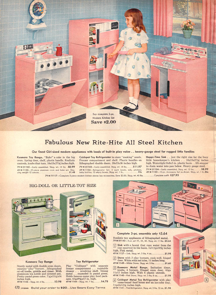 1959 Sears Christmas Book Page470 More Pink Toy Kitchens