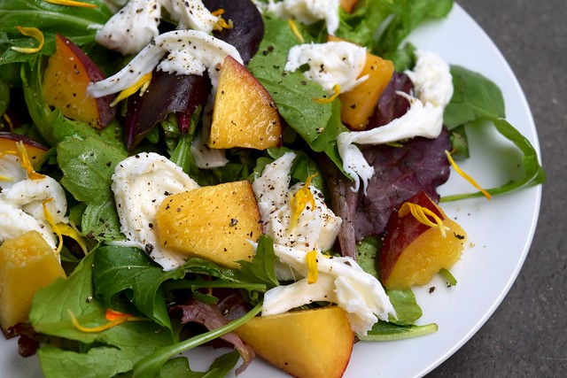 Salad of Meyer Lemon Tossed Mixed Leaves, Peaches, Mozzarella & Lemon Basil