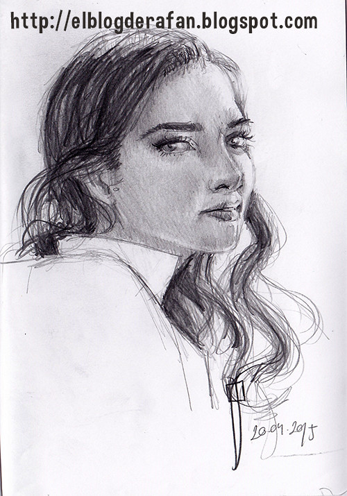 pencil sketch. Woman