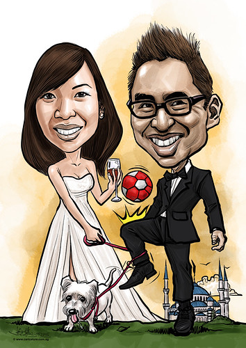 wedding couple digital caricatures soccer wine dog