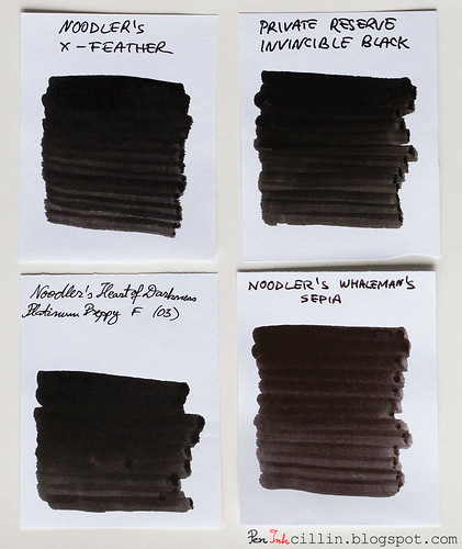 Noodler's X-Feather vs PR Invincible Black vs Noodler's HOD vs Noodler's Whaleman's Sepia