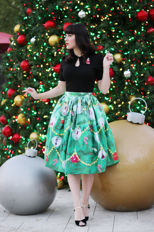 Unique Vintage 1950s Green Light Up Christmas Tree High Waist Swing Skirt Voodoo Vixen Black Dita Teese Keyhole Stretch Top