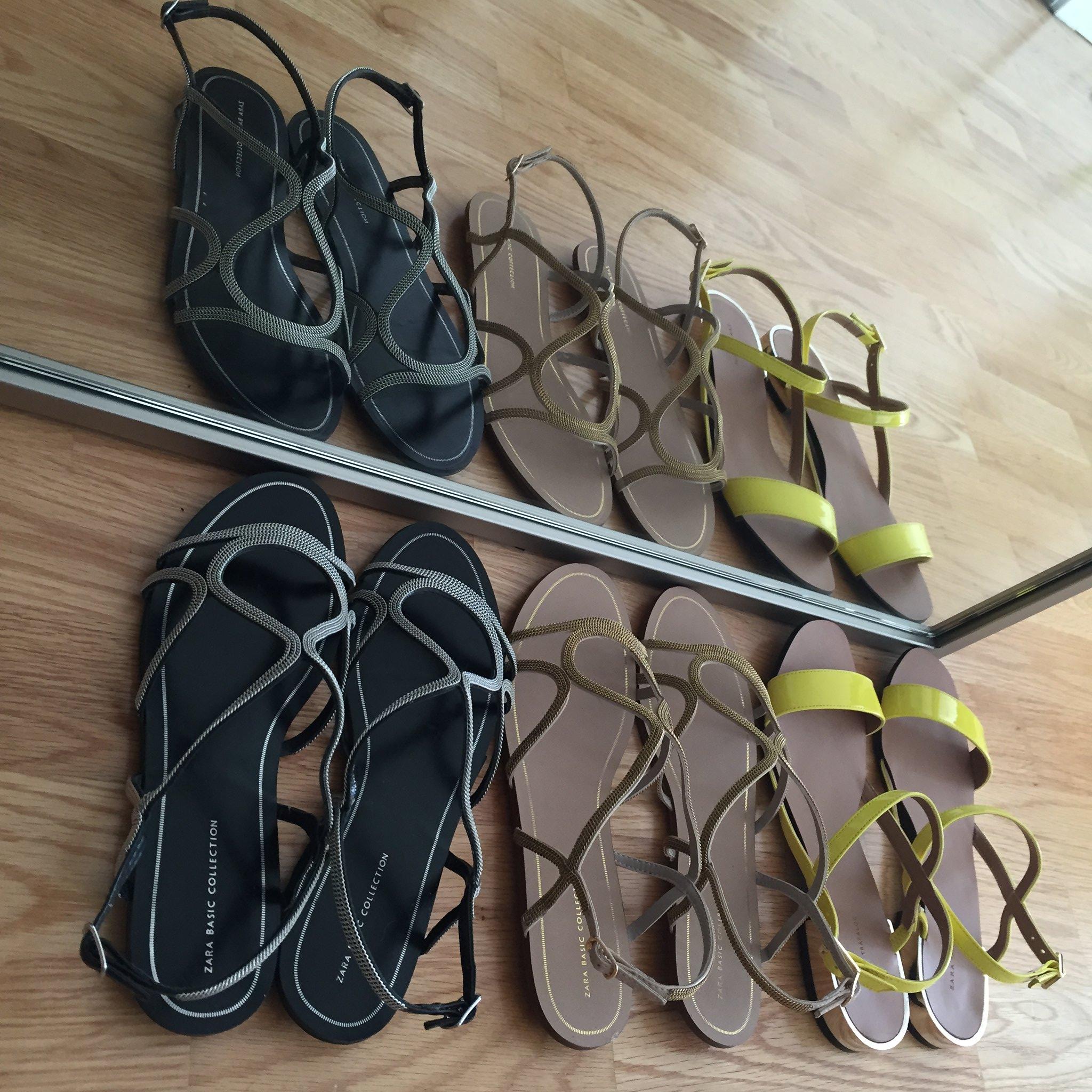 Zara Sandals - Flat Chain Sandals (item no. 2260/001) & Glossy Flat Sandals (item no. 3690/001)
