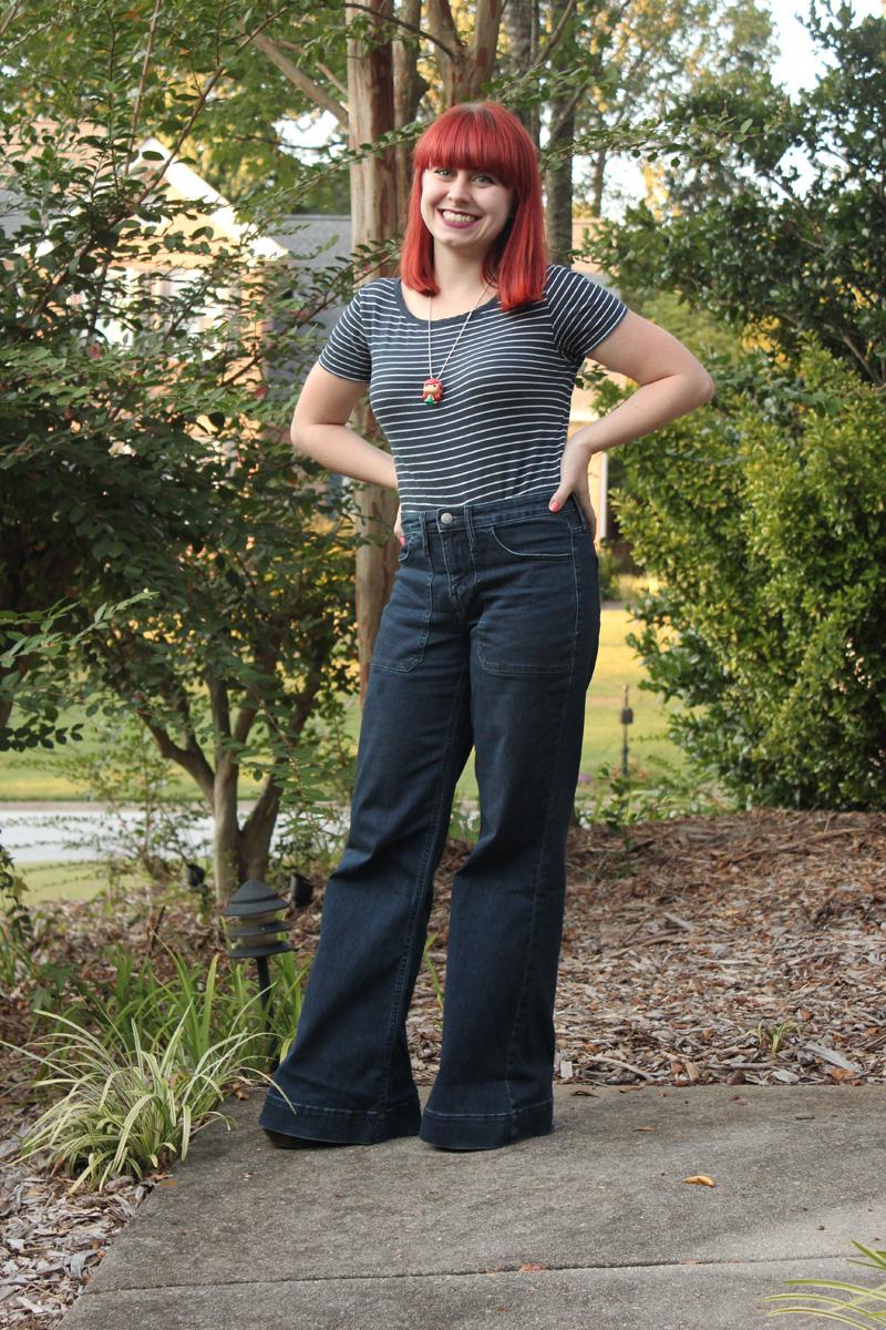 Wide Legged Target Jeans Navy Blue Tee Funko Pop Little Mermaid Necklace