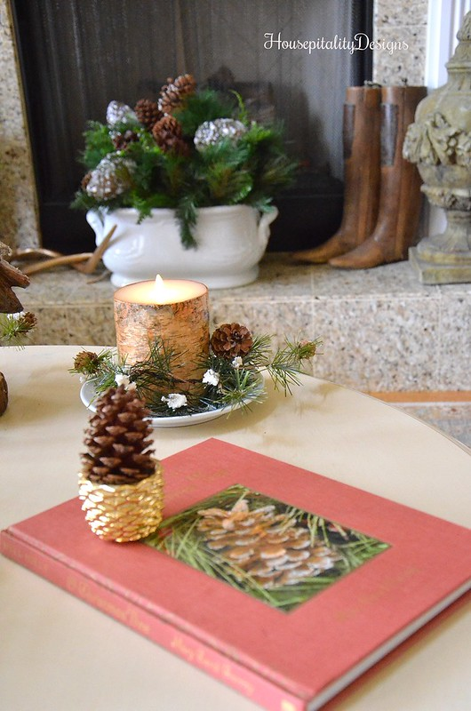 Woodland Christmas Vignette - Luminara Candle - Ironstone Foot Bath - French Boot Forms - Housepitality Designs