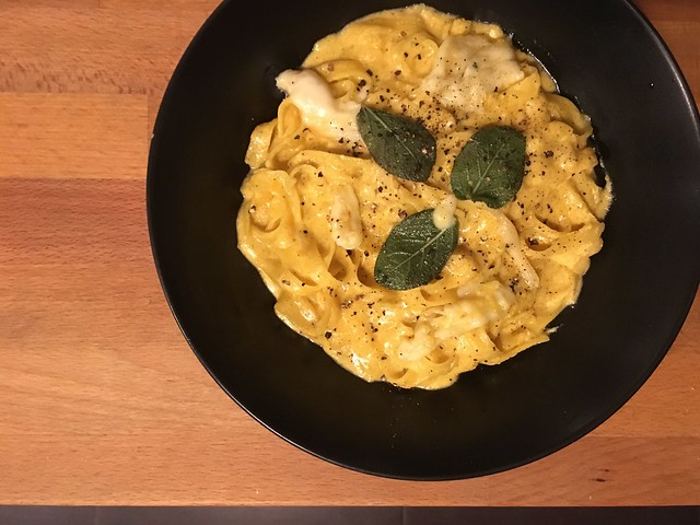half baked harvest's brown butter pumpkin fettuccini alfredo with fried cheese and gluten-free pasta