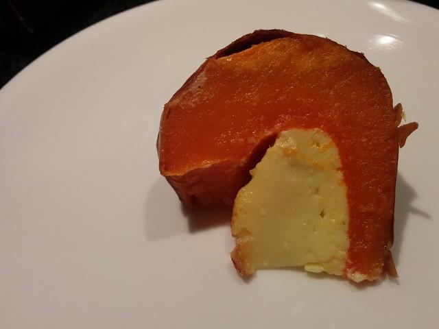 A slice of custard filled pumpkin