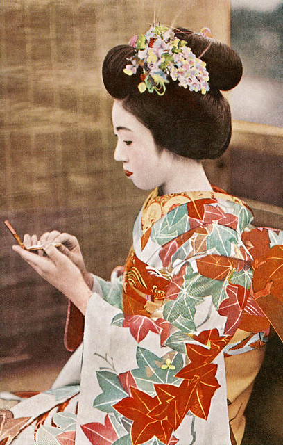 Maiko Teru checking her Make-up 1930s