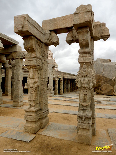 Beautifully carved pillars in the unfinished Kalyana Mandapa, or Marriage Hall inside the Veerabhadra Swamy Temple complex at Lepakshi, in Andhra Pradesh, India