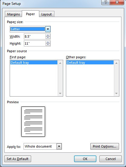 word 2013 page layout size