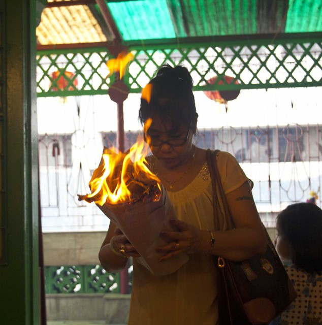 Chinese Women Offering Prayer - Chinese New Year 2015, Kolkata, India