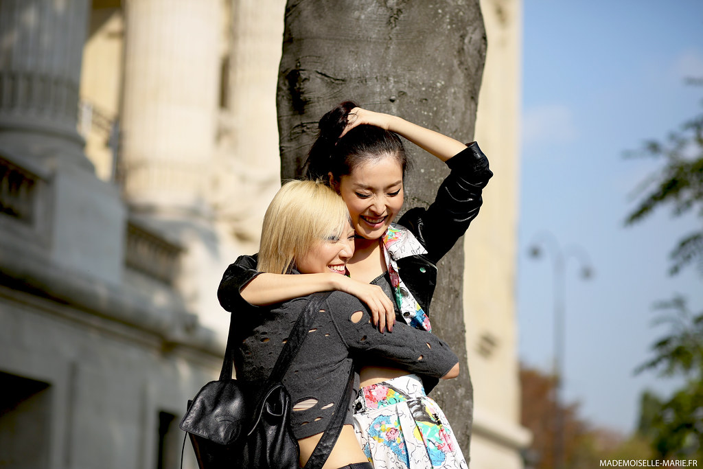 Models Soo Joo and Sunghee Kim at Paris fashion week