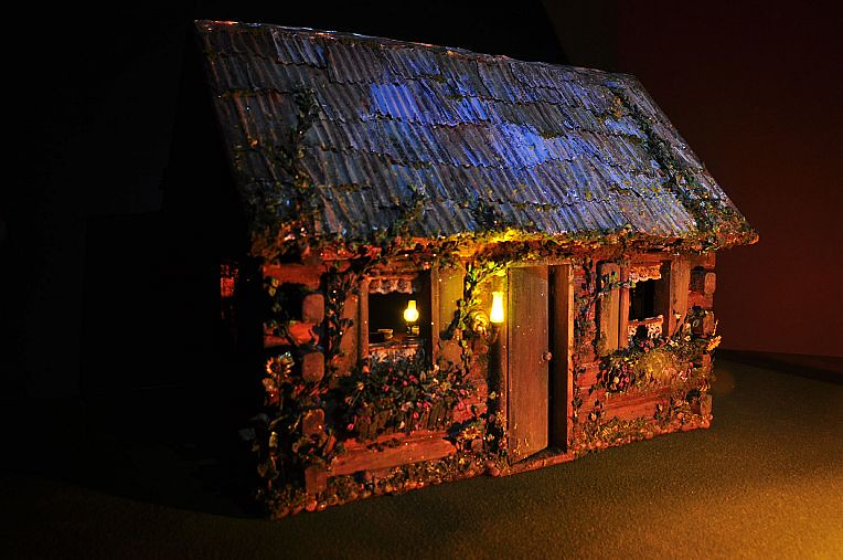 Fairy Tale Log Cabin Dollhouse Night Time View