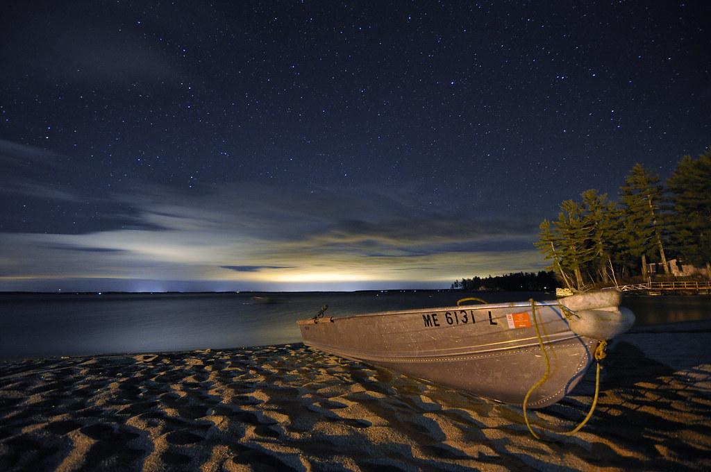 Stars over sebago lake maine taken on nason 39 s beach in for Fishing jobs in maine