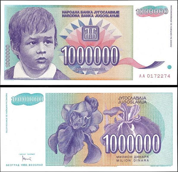 1 000 000 juhoslovanských dinárov Juhoslávia 1993