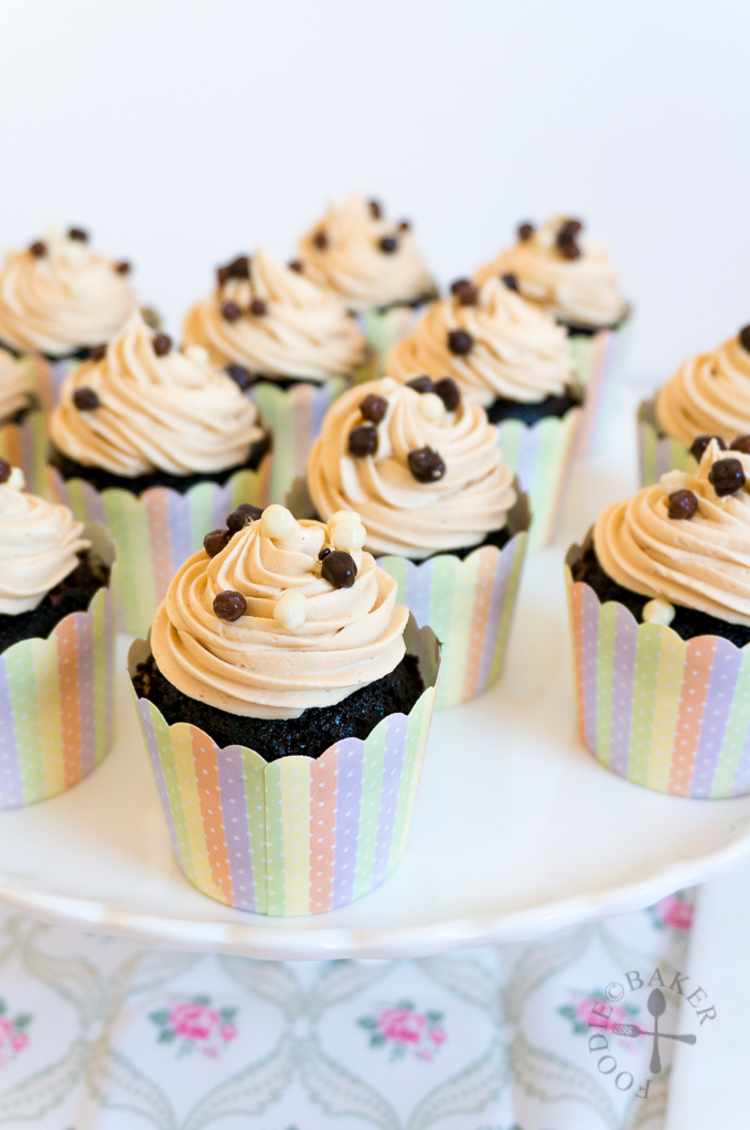 Devil Cupcakes with Choc Mousse Filling and PB Frosting