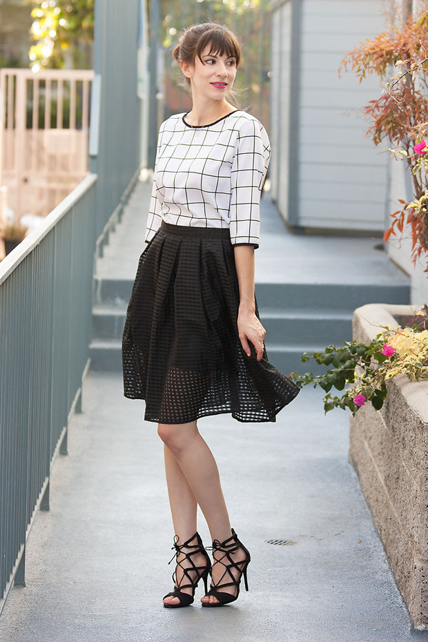Walk Trendy Skirt, Grid Print Top, Lace Up Heels