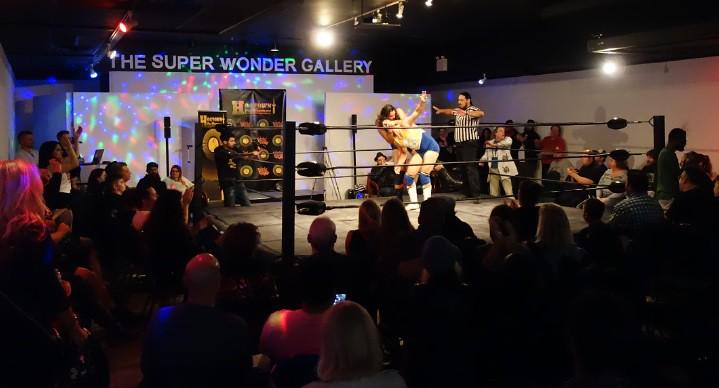 Goliath Ayala versus Jim Nye the Science Guy at Hogtown Wrestling in Toronto