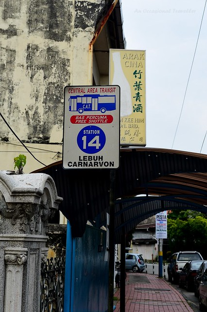 Look out for this sign for the Rapid Penang CAT bus stops