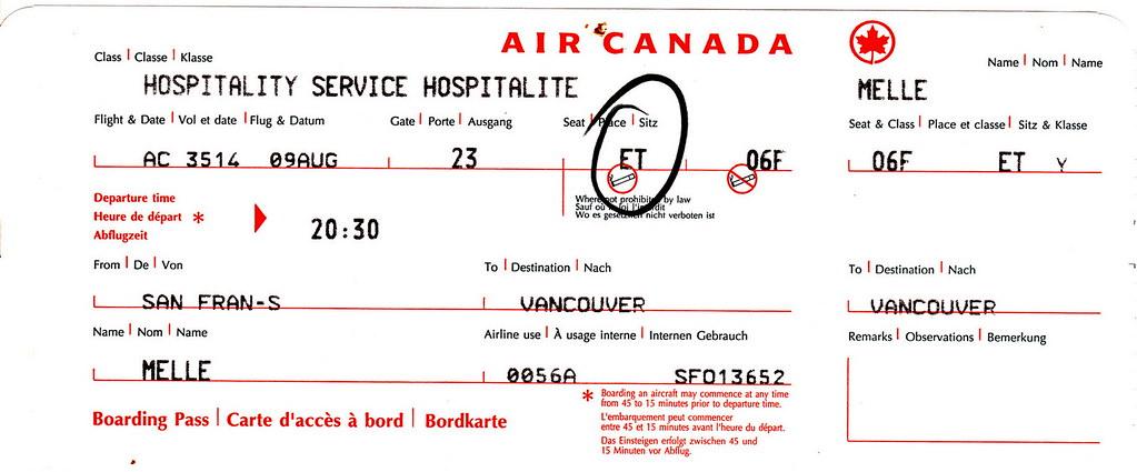 ac 2001 08 09 air canada boarding pass air canada. Black Bedroom Furniture Sets. Home Design Ideas