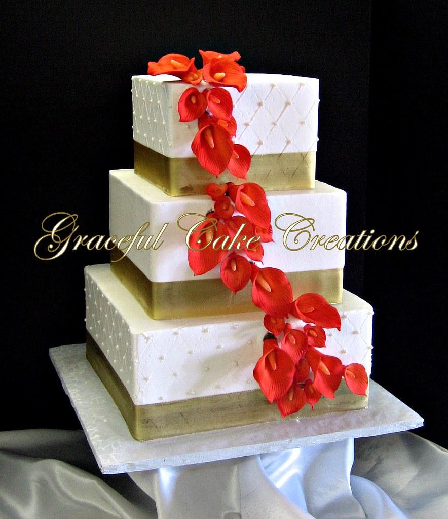 Red Ribbon Wedding Cake Designs