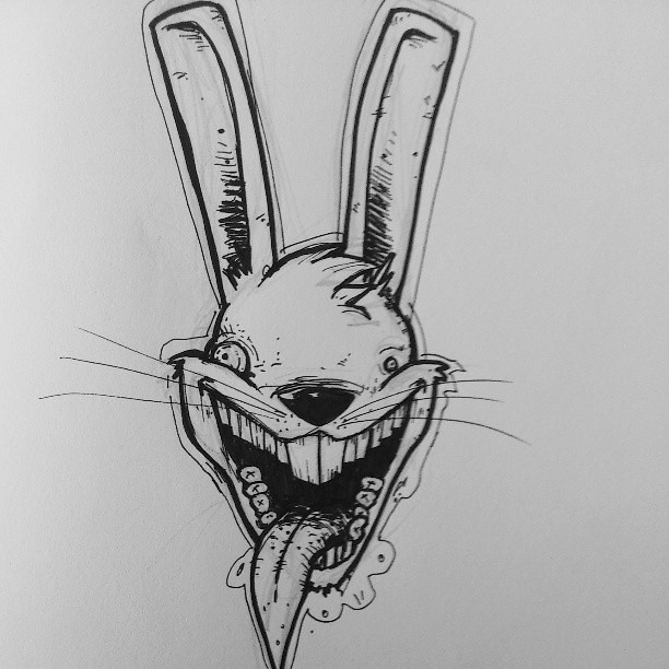 Conejo un poco loco rabit killer illustration ink il for Crazy stuff to draw