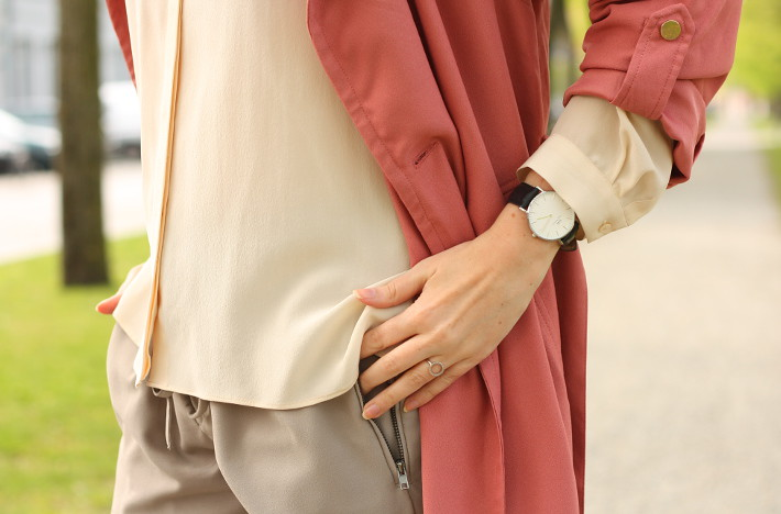 silk blouse, pink trench coat, daniel wellington watch