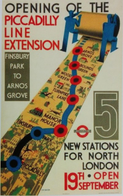 Piccadilly line extension promotion - from Mark Ovenden's book London Underground By Design