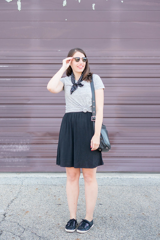 gray tee + black dress + polka dot silk scarf + black superga sneakers | Style On Target blog