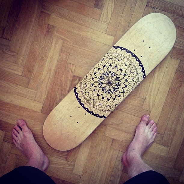 Slowly but surely new mandala skateboard in progress wo How to make designs in wood