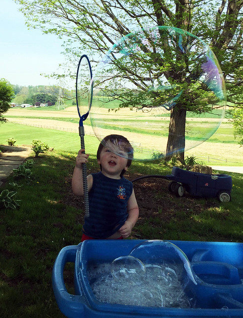 Bubba's first giant bubble!