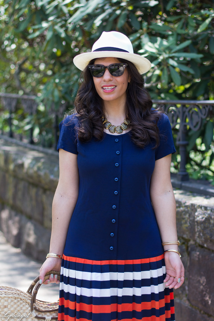 navy drop waist dress, panama hat, straw bag-1.jpg