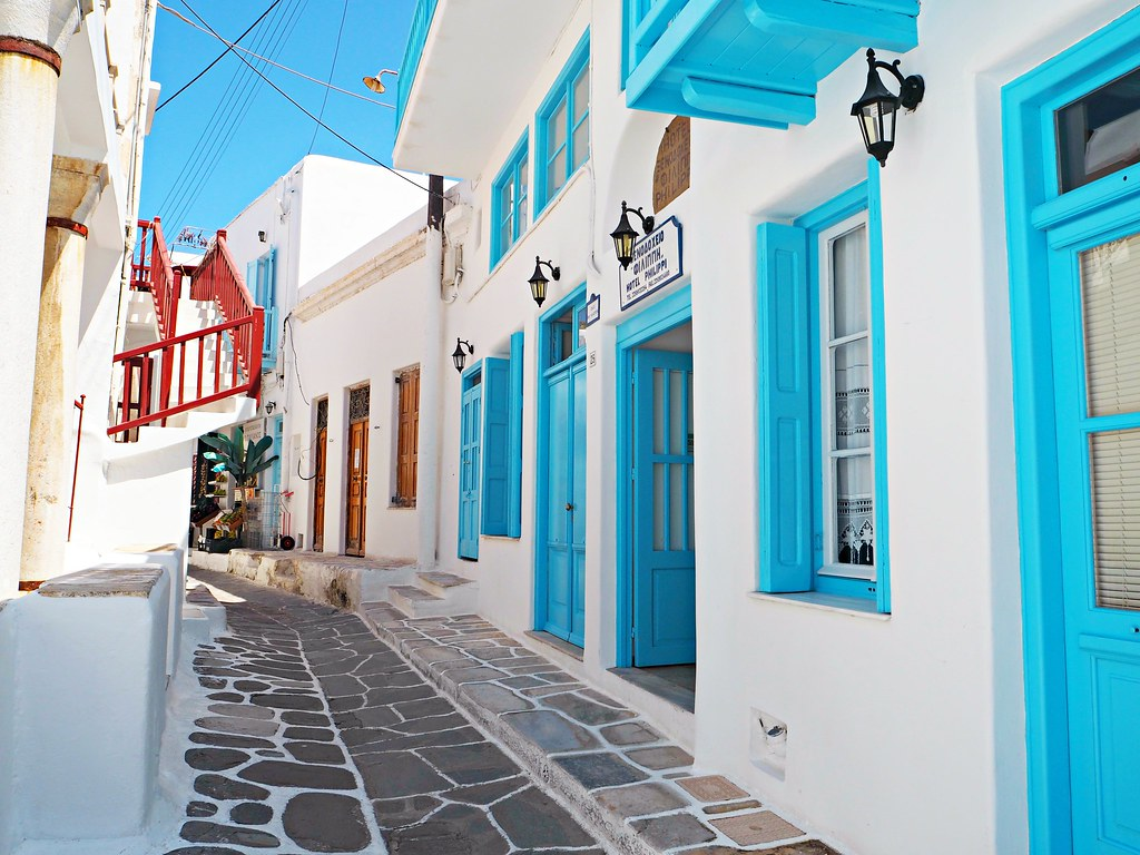 Mykonos blue and white coloured streets