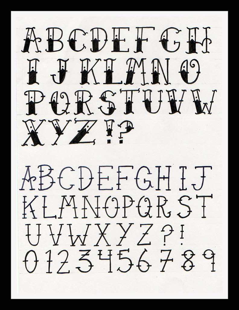 Old school tattoo alphabet as someone who is interested - Lettre alphabet original ...
