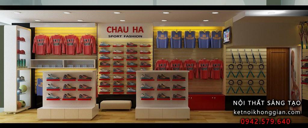 thiết kế cửa hàng giầy dép