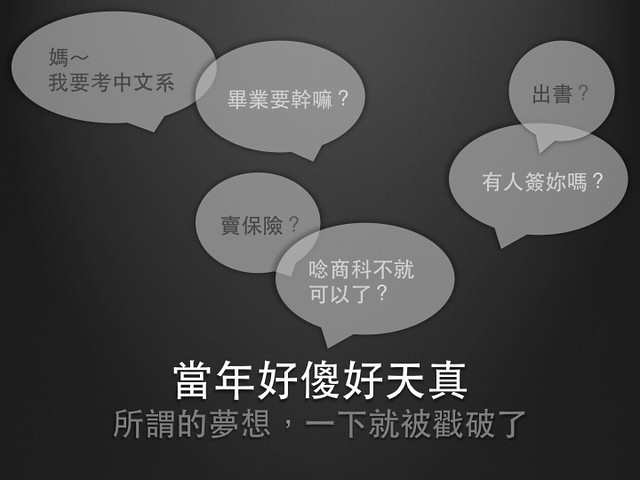 小時候好傻好天真,以為喜歡寫作就可以唸中文系了,長輩隨口問幾下為什麼要唸、畢業後要幹嘛,就被打倒了。 XD