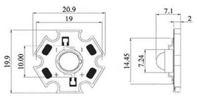 3W LED and Star Heatsink Dimensions