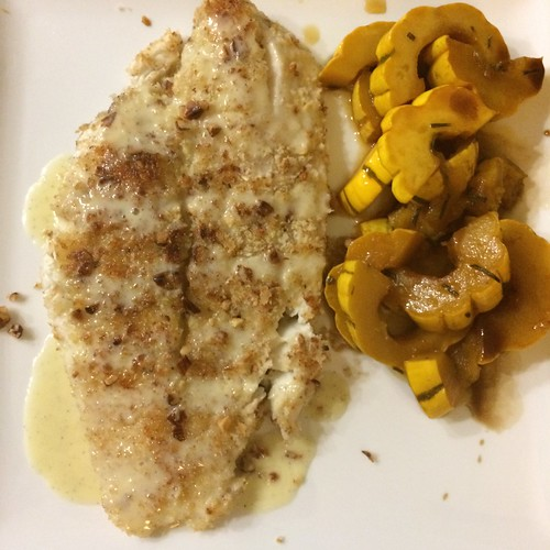 Almond crusted flounder with vanilla sauce; cider-braised delicata squash