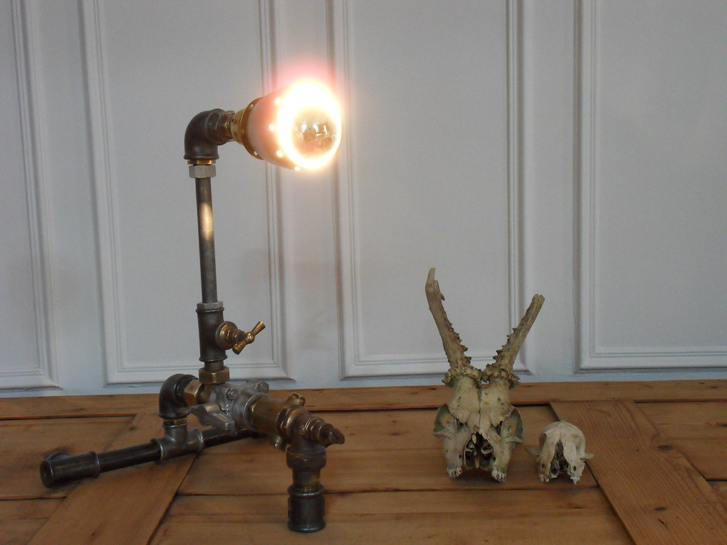 pipe lamp recycled a recycled lamp with pipes of plumbers flickr. Black Bedroom Furniture Sets. Home Design Ideas