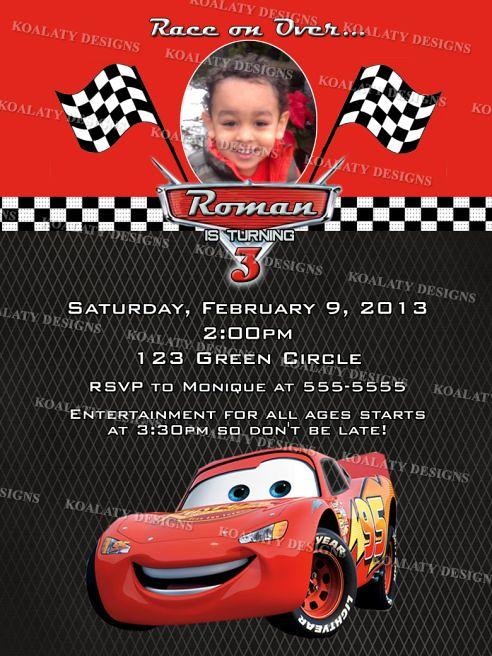 Disney Cars Lightning Mcqueen Birthday Party Invitations
