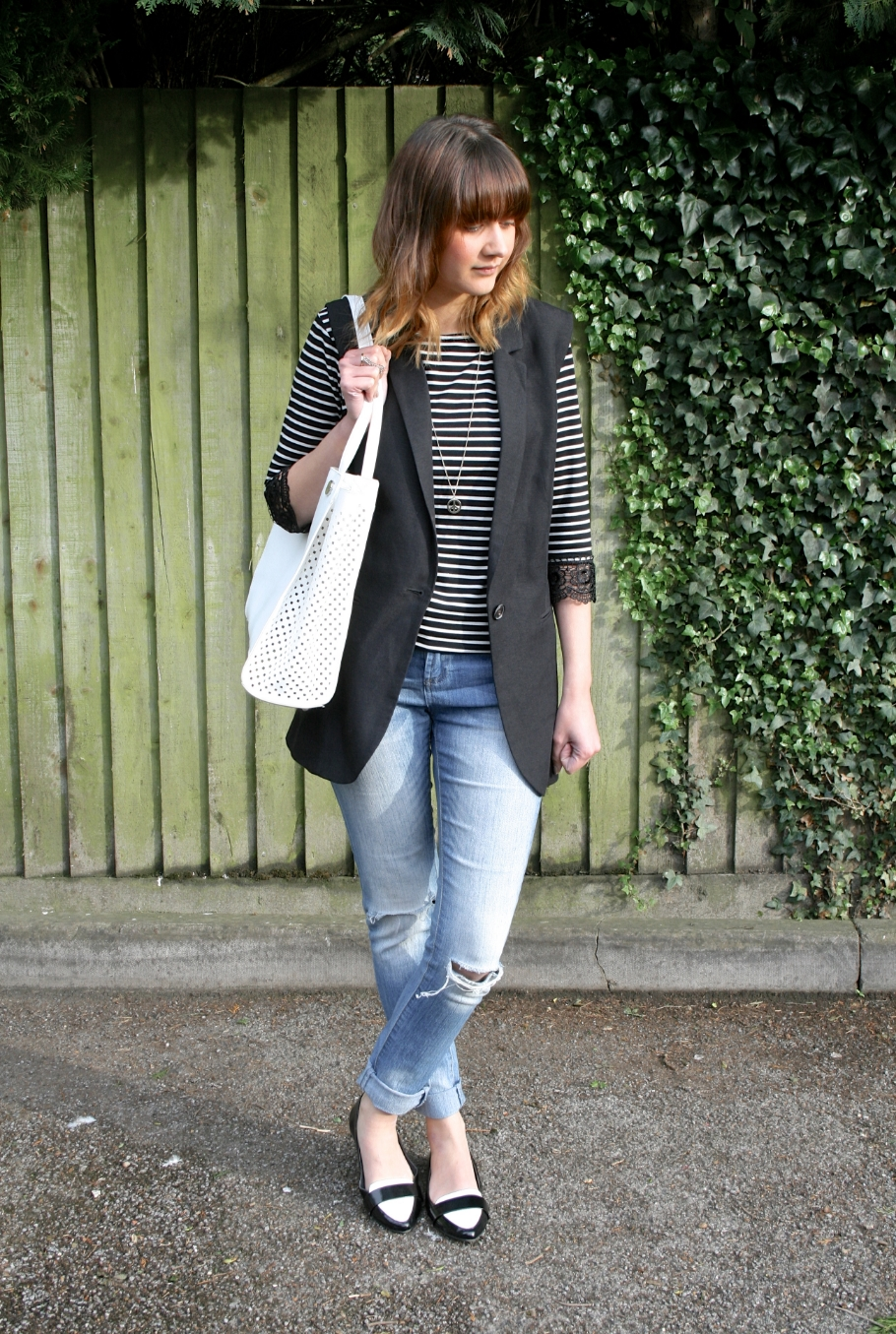 ripped jeans and stripes