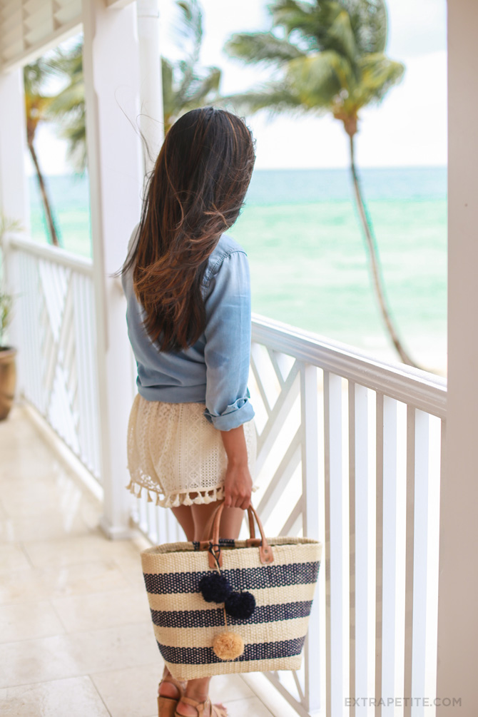 chambray shirt crochet shorts beach outfit1