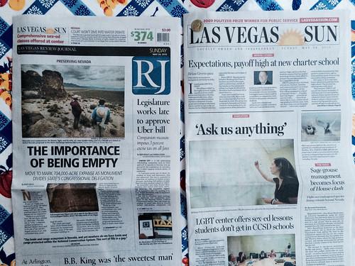 Vegas Front Pages: The Importance of Being Empty / Sage Grouse Management @reviewjournal @LasVegasSun @RefriedBrean @LasVegasSun