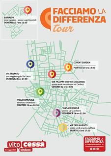 La mappa del tour di Cessa nei quartieri di Casamassima