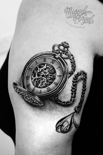 pocket watch and letter a on chain tattoo miguel angel cus flickr. Black Bedroom Furniture Sets. Home Design Ideas