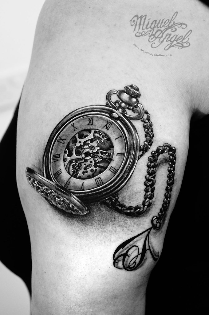 Pocket Watch And Letter A On Chain Tattoo Miguel Angel