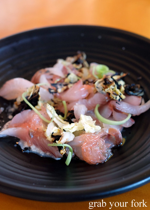 Sashimi silver trevally, soy milk and burnt cabbage at Good Luck Pinbone in Kingsford