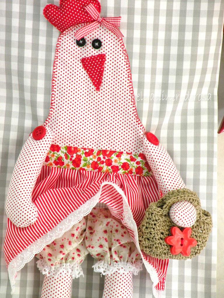 Bolsa de tela para el pan con gallina elgallineroderosa - Manualidades con tela ...