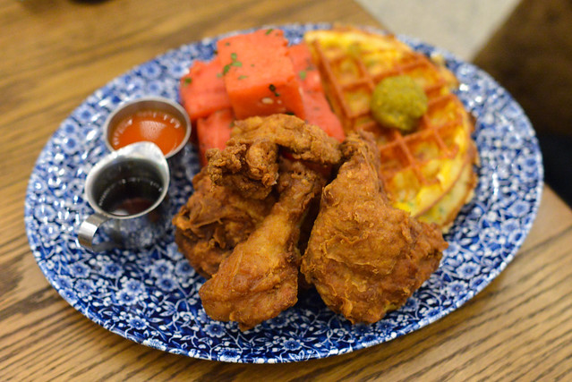 Chicken 'n' Watermelon 'n' Waffles Yardbird's signature 'old school fried chicken', honey hot sauce, chilled spiced watermelon, cheddar cheese chow chow waffle, bourbon maple syrup